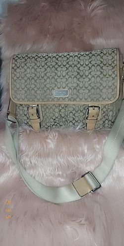 Authentic Coach Khaki Tan Signature Messenger Cross-Body Satchel Bag F70283 for Sale in Forest Heights,  MD
