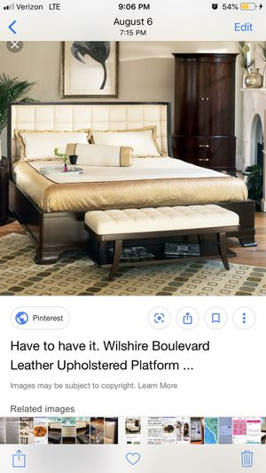 King size Bernhardt bed frame . cream leather tufting and sold wood for Sale in Olyphant, PA