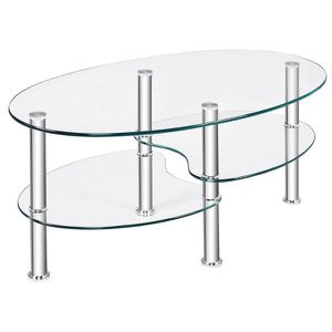 Tempered Glass Oval Side Coffee Table Shelf Chrome Base Living Room Clear for Sale in South El Monte, CA