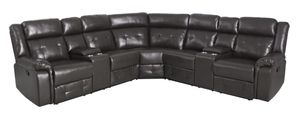 Brand New Black Leather Reclining Sectional With Storage Compartments & Built In Cup Holders for Sale in Puyallup, WA