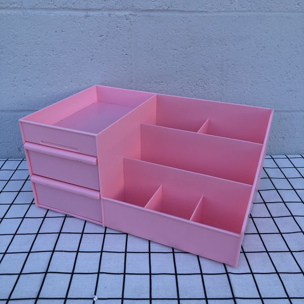 New Pink Love Desktop Storage Container With two Drawers Desktop Makeup Organizer Plastic Storage Box For Household Kitchen