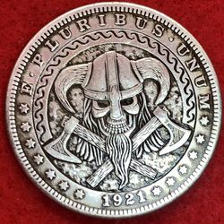 Viking Skull Coin. Tibetan Silver Coin. First $20 Offer Automatically Accepted. Shipped Same Day for Sale in Portland,  OR