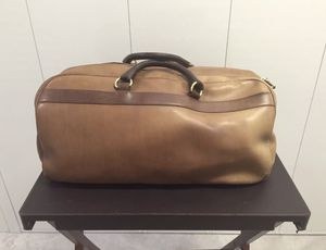 Vintage Cole Haan Brown Leather Satchel Duffle Gym Carry On Bag With Small Lock for Sale in St. Louis, MO