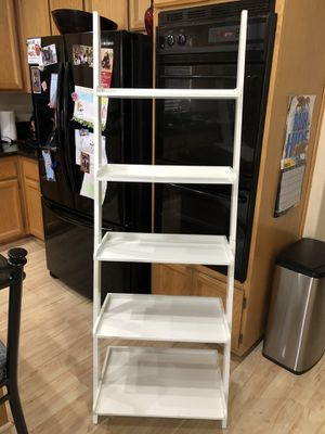 6 Foot Leaning 5 Shelf White Wood Ladder Bookcase Storage Book Case for Sale in Elk Grove, CA