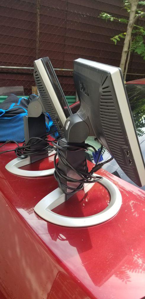 2 Dell flat monitor