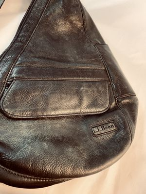 Vintage LL Bean 0PX83 AmeriBag Backpack Shoulder Sling Bag Black Leather for Sale in San Antonio, TX