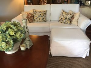 Pottery Barn Sofa and two ottomans for Sale in Naperville, IL
