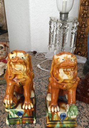 """Pair of foo dog statues bookends. Each antique statue is perfect. Dogs are about 9.5"""" tall. for Sale in Boca Raton, FL"""