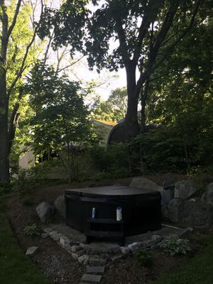 2016 4 seat hot tub, brand is Comelia , make is Garden Saps, size is 72x72x32, 23 jets ,225 gallons . Dry 435 lbs . 110 or 220 volt for Sale in Cumberland, RI