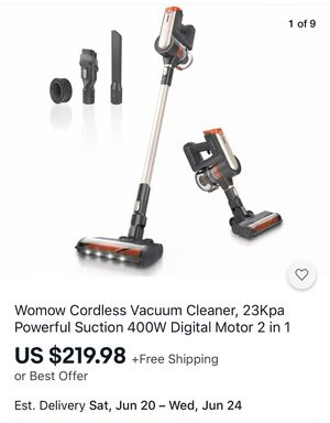 WOWMOW Cordless Vacuum Cleaner 400W Brushless Motor W20 for Sale in Corona, CA