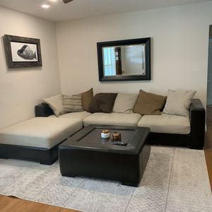 Dark Brown & Tan Sectional - Couch for Sale in Boynton Beach, FL