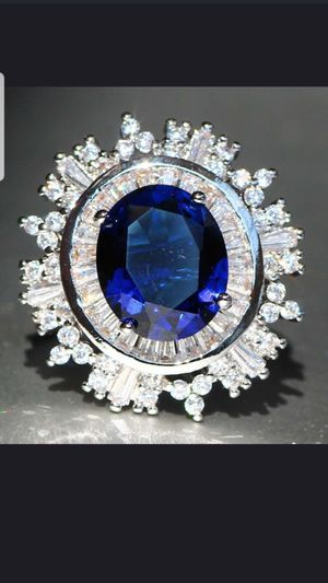 Sterling silver blue and white sapphire ring size 8 for Sale in Baltimore, MD