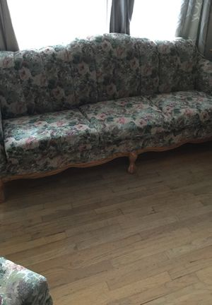 Floral oak claw foot couch, chair and ottoman for Sale in Wenatchee, WA