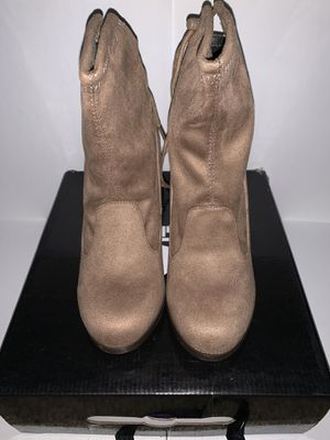 Womens Drawstring Tie Lace Up Chunky Thick High Heel Pull On Ankle Boot Booties for Sale in Vacaville, CA