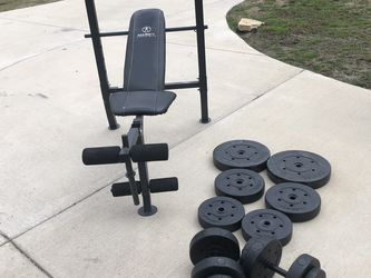 MERCY MERCY BENCH 140 Lbs Plates And Two Handless And One Barr for Sale in Forney,  TX