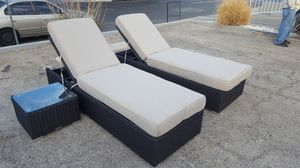 Patio Furniture 3pc Chaise Lounge Set with Outdoor Cushion in Beige, Brand New. Closeout Sale on Sept. 28-29 for Sale in Phoenix, AZ