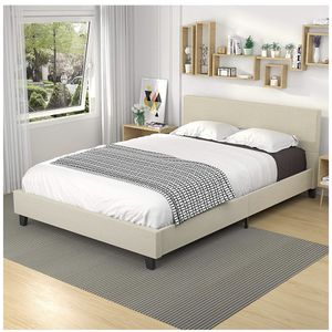 Upholstered Linen Full Size Platform Bed Metal Frame, Mattress Foundation with Wooden Slats Support, No Box Spring Needed - Full, Beige for Sale in Whittier, CA