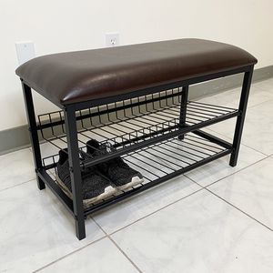 "(NEW) $25 Entryway (28x12x18"") Metal Shoe Rack Bench Seat, 2-Tier Storage Living Room Organizer for Sale in El Monte, CA"
