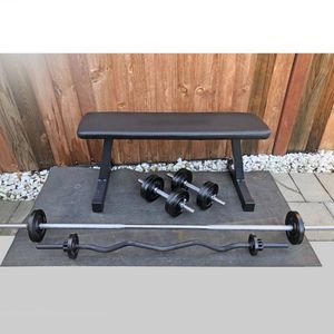 Brand new small home gym (Flat Bench, Long bar, curl bar and dumbbell handles) for Sale in San Jose, CA