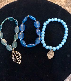 Three bright colored beaded bracelets with leaf charms. Pretty! $5 for all 3 for Sale in Tolleson, AZ