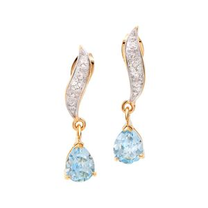 Plated 18KT Yellow Gold 2.05ctw Blue Topaz and Diamond Earrings for Sale in Chesapeake, VA