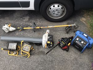 Ryobi weed wacker and blower , air compressor, lights & chainsaw for Sale in North Providence, RI