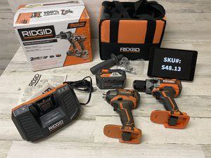 Ridgid 18 Volt Brushless Hammer Drill and Impact Driver 2 Tool Kit 4.0Ah Battery Tool Bag for Sale in Mesa, AZ