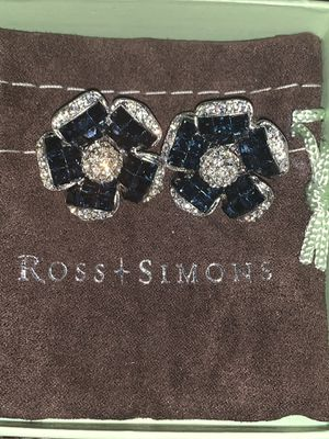 Ross & Simons flower diamond gemstone earrings for Sale in York, PA
