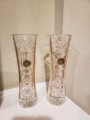 Two brand new crystal with gold flower vases. Made in Italy. for Sale in Los Angeles, CA