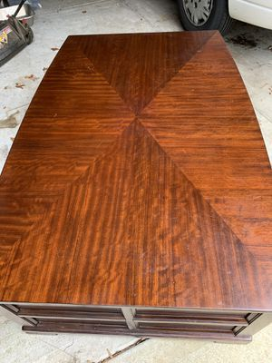 """Large Schnadig 52"""" Long Coffee Table. 18.5"""" Tall, 31""""-34"""" Wide, (widest in the middle). Has 2 shelves and 1 Deep Drawer. The other side has a drawer for Sale in Clayton, NC"""