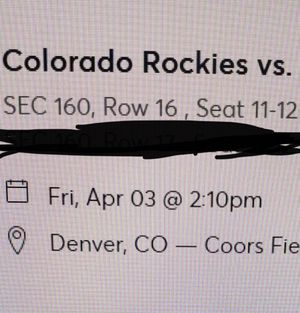 Colorado Rockies Opening Day Sec 160 Row 16 Seats 11-12 for Sale in Denver, CO
