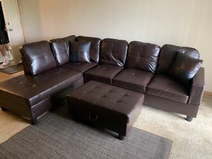 New 3pc Espresso Sectional Sofa Set for Sale in Kent, WA