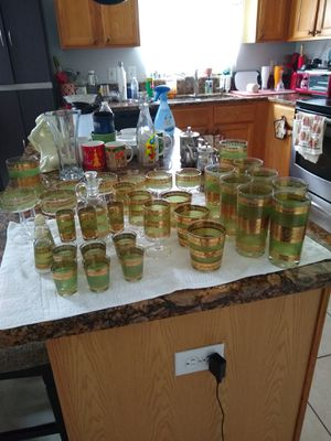 Glass, set with gold trim for Sale in BVL, FL