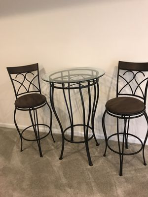 Metal Glass Barstools Table set for Sale in Fort Washington, MD