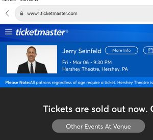 Seinfeld Tickets—Hershey Theatre for Sale in Hershey, PA