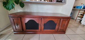 Hard wood and heavy quality good condition Tv stand with 2 cd drawers. 5ft long x22 w x 22 height for Sale in Henderson, NV