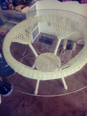 Glass dining table. Wicker bottom. for Sale in Nashville, TN