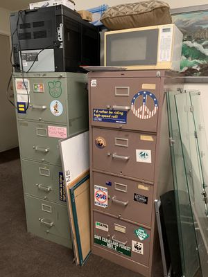 Dell computer, printer, and monitor, filing cabinets, microwave cork boards white boards patio set, tables must go! for Sale in San Diego, CA
