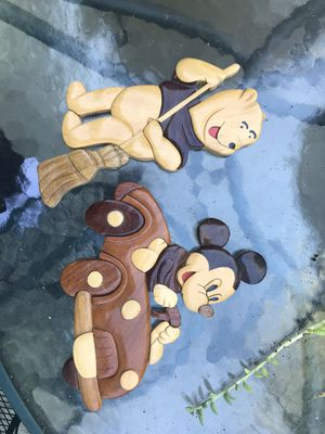 Disney Mickey Mouse and Pooh Bear Wooden Wall Art cute for nursery decor for Sale in Costa Mesa, CA
