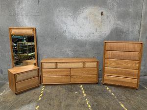 Lane Oak & Cane Vintage Bedroom Set - Mid Century Modern Furniture for Sale in Portland, OR