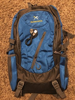 Lightweight Blue Travel backpack with USB Port, Outdoor Sport Bag. Hiking Mountaineering Pack Waterproof Backpack. Travel Backpacks for Men and Women for Sale in Chandler, AZ