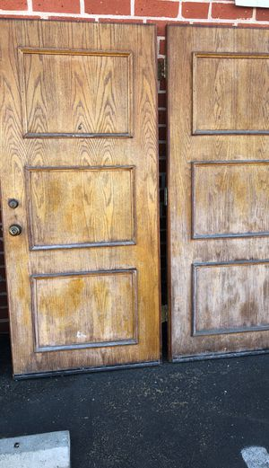 "Heavy Real Wood Solid Oak 6FT double doors - each door .36"" x 80"" roughly for Sale in Los Angeles, CA"