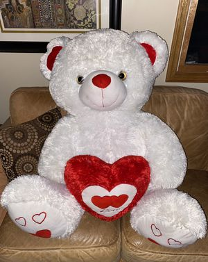 Giant white heart teddy bear stuffed animal for Sale in Red Bank, NJ