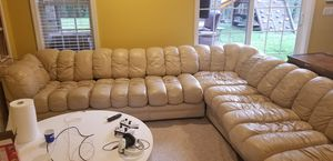 Sectional couch all leather real for Sale in Apex, NC