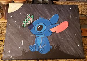 Stitch acrylic hand paint 11 x 14 canva for Sale in Orlando, FL