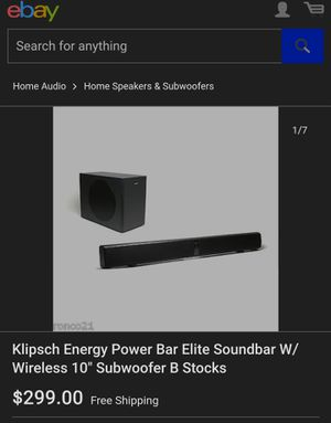 Klipsch Energy Power Bar Elite Soundbar W/ 10 inch Subwoofer for Sale in Fullerton, CA