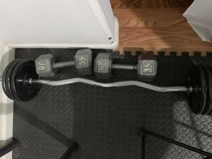 Dumbbell 35 lbs curl bar 60lbs for Sale in Palmdale, CA