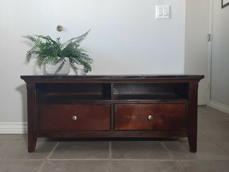 Gorgeous Dark Stained TV Stand With 2 Drawers! for Sale in Newhall,  CA