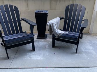 Two Wood Resin Adirondack chairs and new fire pit for Sale in Dana Point,  CA