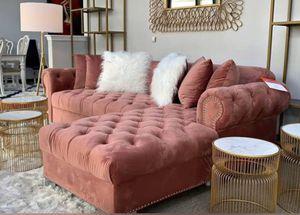 New Pink Velvet Sectional Sofa for Sale in Austin, TX